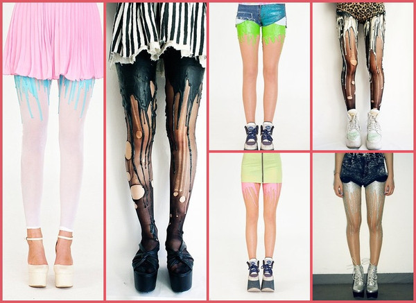 jeans painting leggings tights