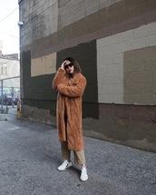 coat,tumblr,brown coat,teddy bear coat,fuzzy coat,sneakers,white sneakers,low top sneakers,pants,sunglasses