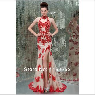 halter dress evening dress sexy dress lace dress red dress formal dress long prom dress bridal gown wedding dress side split maxi dress long prom dress cheap prom dresses
