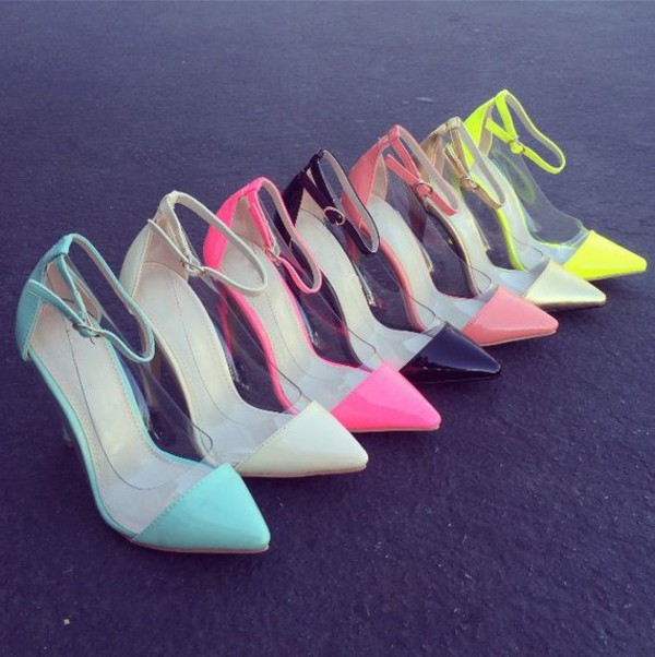 pastel high heels fashion stilettos shoes heels clear plastic mint pink yellow white coral gold blue cute girly pumps pretty size 6 heels shiny style clear heels high heel pumps