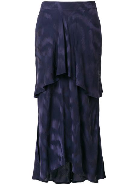 SIES MARJAN skirt long women layered blue silk