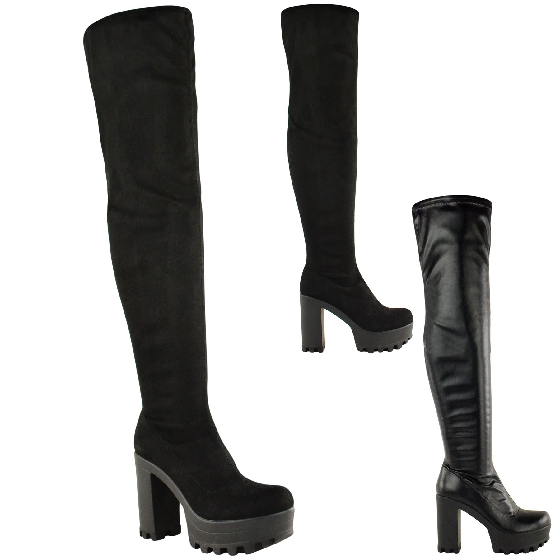 WOMENS OVER THE KNEE THIGH HIGH CHUNKY PLATFORM BLOCK HEEL BOOTS ...