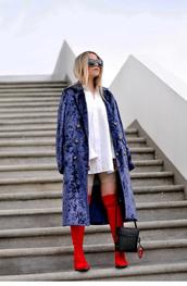 coat,tumblr,velvet,velvet coat,blue coat,shirt,white shirt,oversized shirt,oversized,boots,red boots,bag,black bag,sunglasses