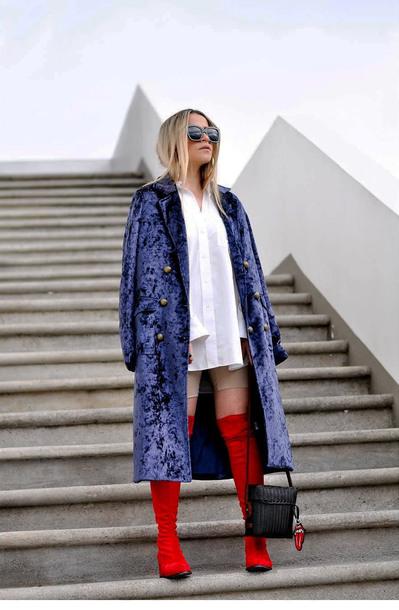 coat tumblr velvet velvet coat blue coat shirt white shirt oversized shirt oversized boots red boots bag black bag sunglasses
