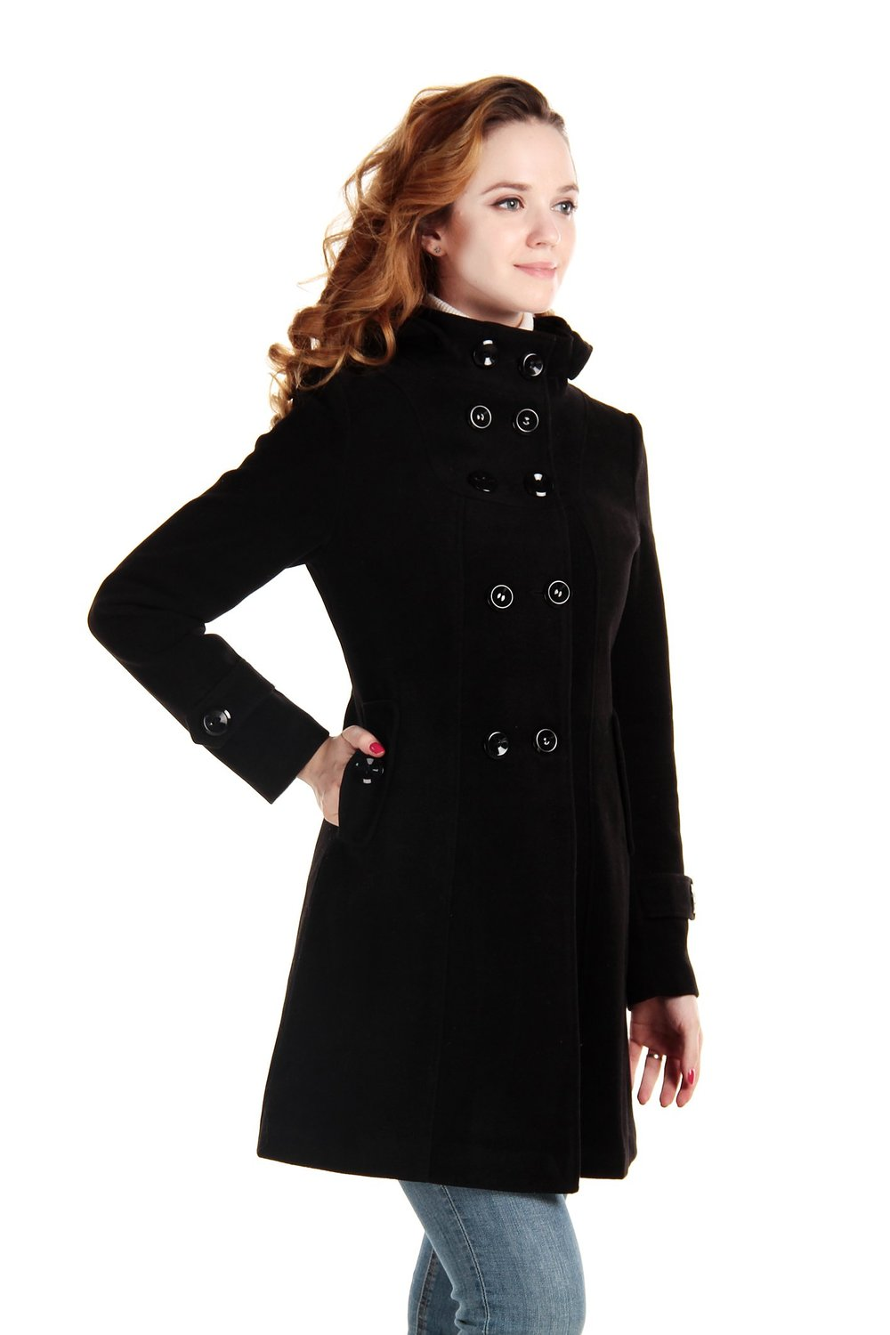 Charex 174 Women Wool Blends Coat Hooded Double Breasted