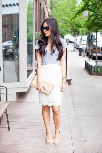 shoes white skirt pencil skirt grey t-shirt black sunglasses nude clutch streetstyle gold watch clutch lace skirt grey top nude heels sandals sandal heels