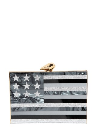 american flag american clutch white black bag