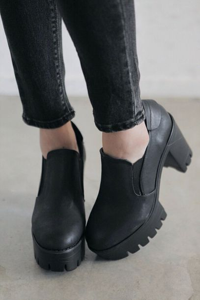 Shoes: black platforms, timberland, platform shoes, black, leather ...