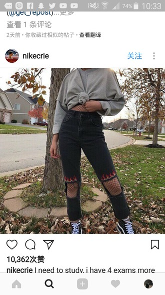 jeans black fire ripped jeans