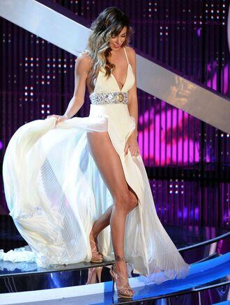 dress prom dress ball gown dress spaghetti strap belted dress leg slit