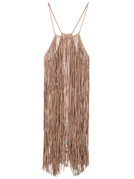 dress fringed dress women leather nude