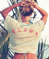 t-shirt,aloha shirt,aloha,hawaiian,white tee,cover up,swimwear,beach,pink,girl