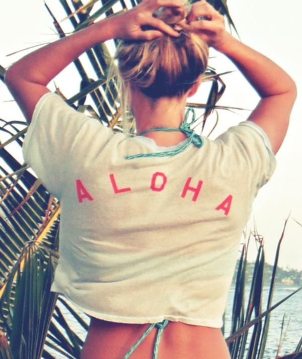 t-shirt aloha shirt aloha hawaiian white tee cover up swimwear beach pink girl