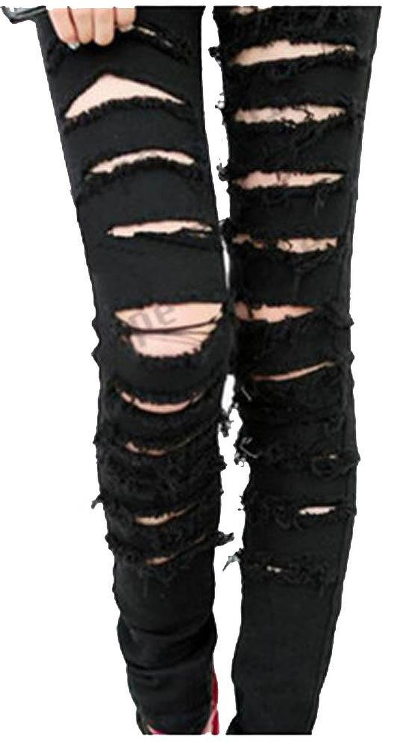 Black Punk Rock Women Ripped Skinny Pants Jeans Leggings Trousers WF-3787 at Amazon Women's Clothing store: