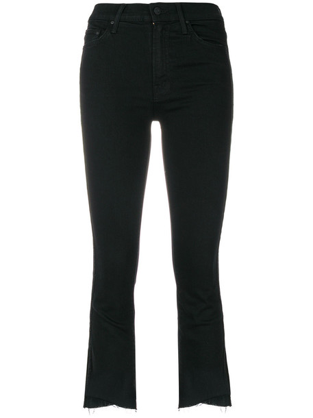 Mother jeans cropped jeans high waisted cropped high women spandex cotton black