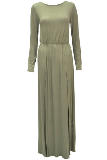 Ladies Esta Long Sleeve Double Split Maxi Dress In khaki | Pop Couture