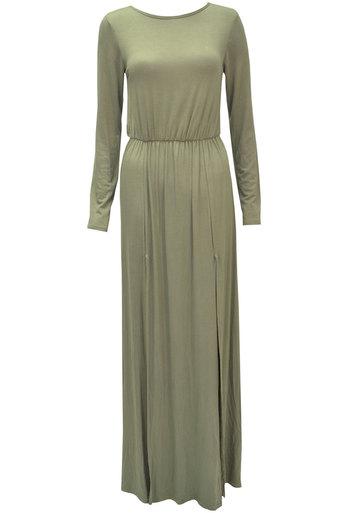 Ladies Esta Long Sleeve Double Split Maxi Dress In khaki | Pop Couture