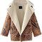 Trendy vintage warm floral print suede pocket long sleeve coat online - newchic