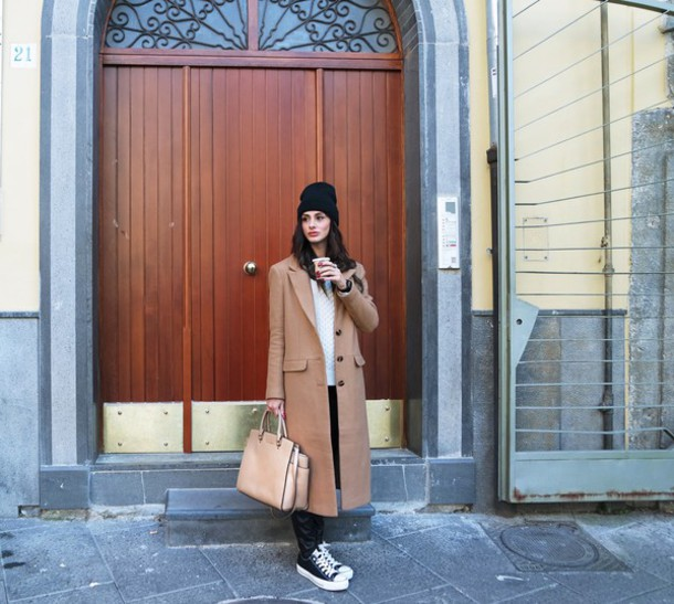 marie zamboli blogger pants converse camel coat purse long coat