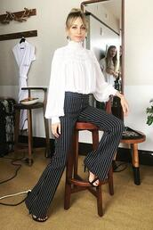 pants,top,blouse,sofia richie,stripes,striped pants,high waisted,black and white