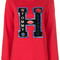 Tommy hilfiger - sweatshirt with letter appliqué - women - cotton/polyamide - s, red, cotton/polyamide