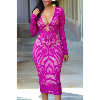 dress magenta fashion style long sleeves pink midi dress sexy party hot trendy rose wholesale-jan