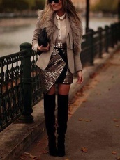 skirt,black,leather,studs,over the knee boots,blouse,white,vintage,jacket,shirt,shoes,jewels