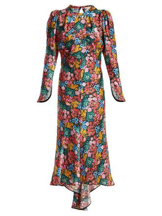 dress satin dress floral print silk satin