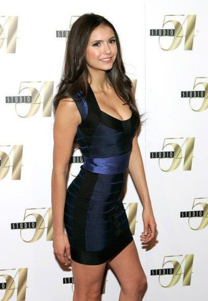 dress mini dress black blue celebrities vampire diaries nina dobrev navy black blue bandage dress