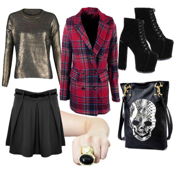 coat tartan skull metallic platform shoes skirt