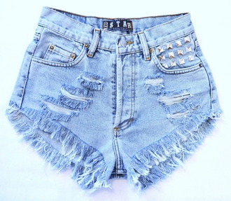 shorts jeans studded shorts studde ripped jeans high waisted shorts