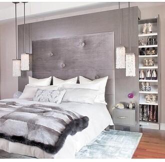 home accessory bedding headboard shoe closet luxury grey storage