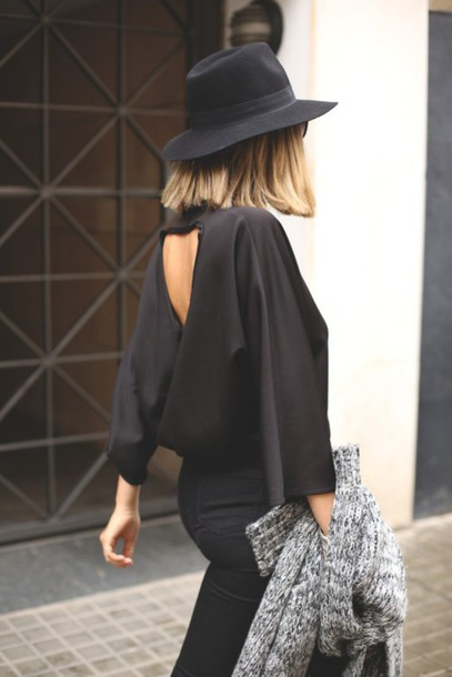 blouse black blouse cut-out style black city outfits hat jeans open back
