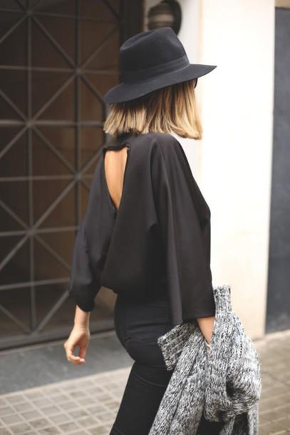 blouse black blouse cut-out style