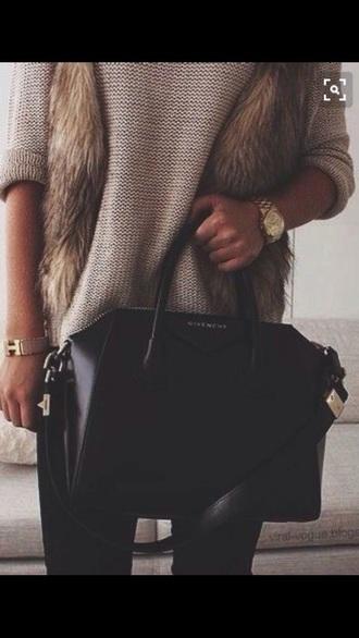 sweater faux fur faux fur vest faux fur coat faux fur jacket leggings brown black dress white black