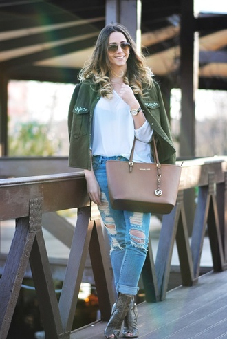 let's talk about fashion ! blogger sunglasses shoes jewels white top michael kors michael kors bag ripped jeans army green jacket boots animal print