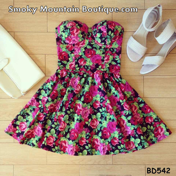 dress bustier dress floral dress summer dress
