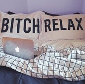 home accessory,pillow,quote on it,hipster,bitch,bedding,black and white,quote on it pillow,dorm room