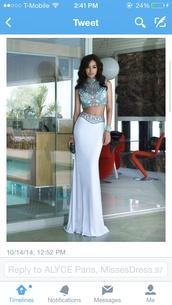 iglesias,melanie,two-piece,melanie iglesias,dress,white 2 piece prom dress,skirt,fashion,top,jewels