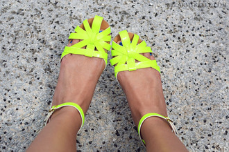 shoes yellow sandals flat sandals flats neon pretty cute