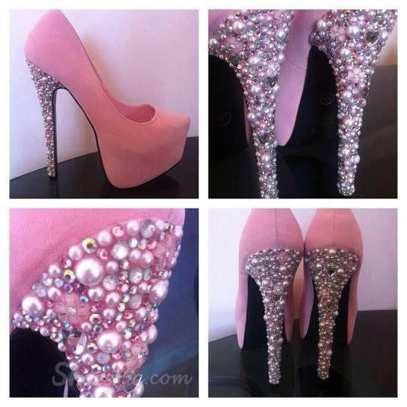 Chic rhinestone platform stiletto heels with pink