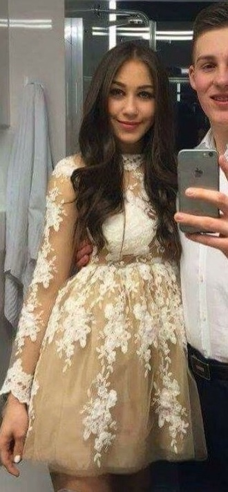 dress beige veil lace lace dress beige dress cream cream dress white silk formal dress prom dress long sleeves cute cute dress prom cool white dress girl girly formal nightwear night dress silk cream colour beautiful beautiful dresess cool girl style