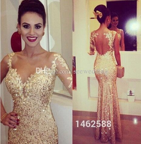 Gold Fitted Prom Dress