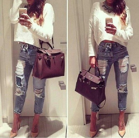 jeans torn jeans cropped sweater