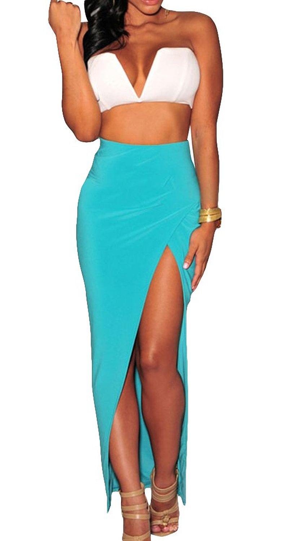 Zlm women's sexy fashion waisted side split nightclub bodycon midi skirt blue at amazon women's clothing store:
