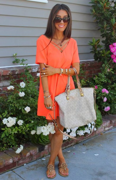 dress tangerine criss cross strap neckline mini shirt dress