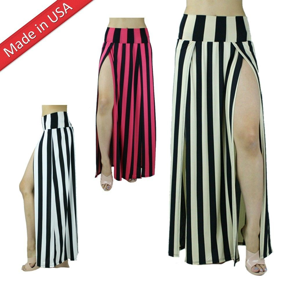 Stripe Two Split Double Slit High Banded Waist Long Full Length Maxi Skirt USA