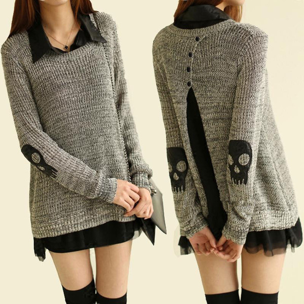 sweater skull fashion dress dark sweater dress grey sweater grey black asian fashion