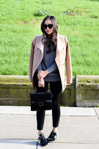the fancy pants report blogger camel coat satchel bag nike sneakers cropped pants