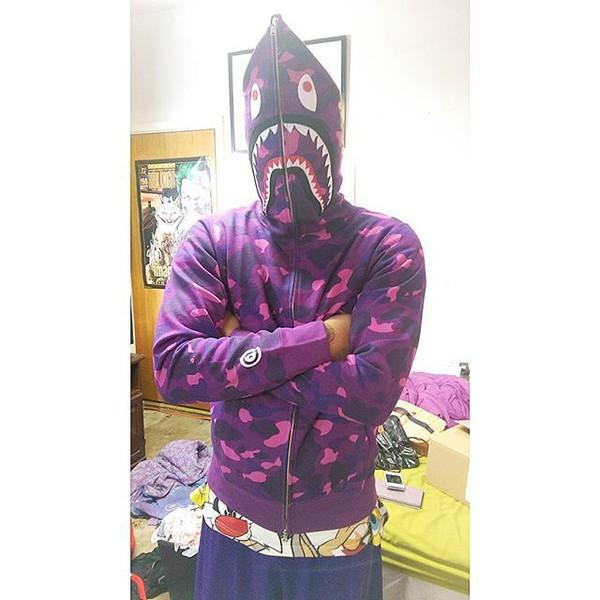 sweater purple bape shark hoodie bape hoodie purple shark